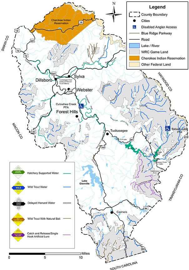 Tuckasegee River Fly Fishing Map