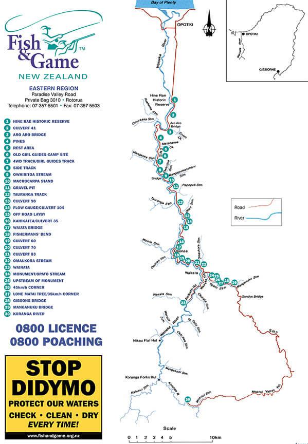 Waioeka River Fly Fishing Map