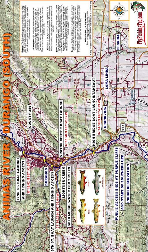 Animas River - Lower Fly Fishing Map