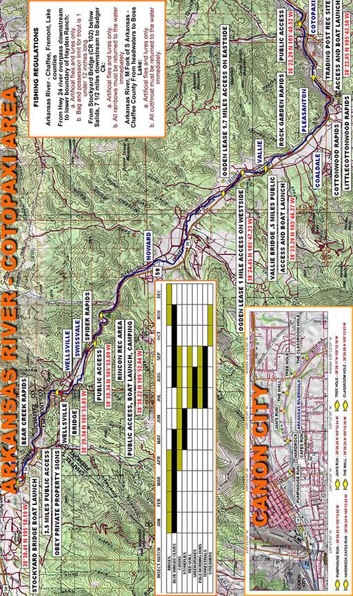Arkansas River - Cotopaxi Fly Fishing Map
