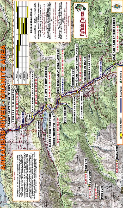 Arkansas River - Granite Fly Fishing Map