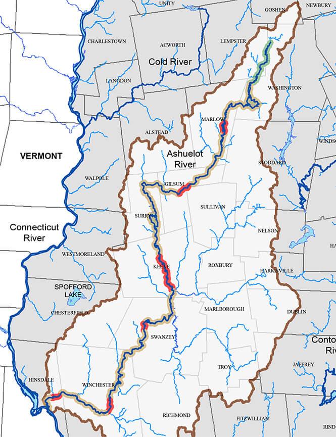 Ashuelot River Fly Fishing Map